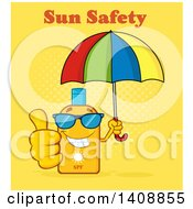 Clipart Of A Bottle Of Sun Block Mascot Wearing Shades Holding An Umbrella And Giving A Thumb Up With Text On Yellow Royalty Free Vector Illustration