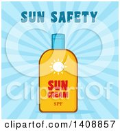 Clipart Of A Bottle Of Sun Block With Text Over Blue Rays Royalty Free Vector Illustration