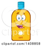 Clipart Of A Bottle Of Sun Block Mascot Royalty Free Vector Illustration by Hit Toon