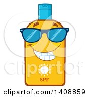 Clipart Of A Bottle Of Sun Block Mascot Wearing Shades Royalty Free Vector Illustration by Hit Toon