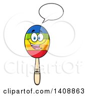 Clipart Of A Maraca Character Talking Royalty Free Vector Illustration