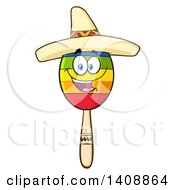 Clipart Of A Mexican Maraca Character Wearing A Sombrero Royalty Free Vector Illustration