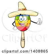 Clipart Of A Mexican Maraca Character Wearing A Sombrero And Giving A Thumb Up Royalty Free Vector Illustration by Hit Toon
