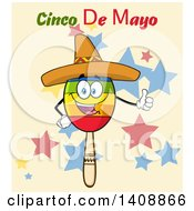 Clipart Of A Mexican Maraca Character Wearing A Sombrero And Giving A Thumb Up With Cinco De Mayo Text Over Stars Royalty Free Vector Illustration by Hit Toon