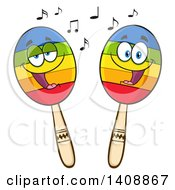 Clipart Of A Pair Of Maraca Characters Royalty Free Vector Illustration by Hit Toon