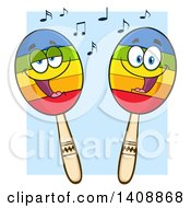 Clipart Of A Pair Of Maraca Characters Over Blue Royalty Free Vector Illustration by Hit Toon