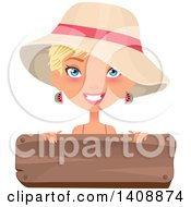 Clipart Of A Caucasian Woman With Short Blond Hair Wearing A Summer Hat Over A Wood Sign Royalty Free Vector Illustration by Melisende Vector