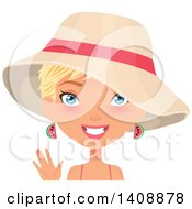 Waving Caucasian Woman With Short Blond Hair