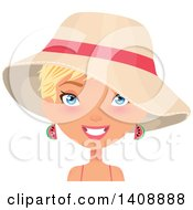 Caucasian Woman With Short Blond Hair Wearing Watermelon Earrings And A Sun Hat