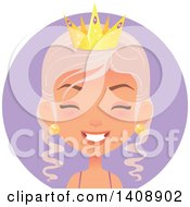 Laughing Pastel Pink Haired Caucasian Woman Wearing A Crown Over A Purple Circle
