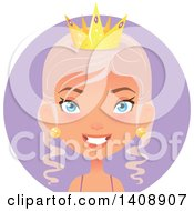 Clipart Of A Pastel Pink Haired Caucasian Woman Wearing A Crown Over A Purple Circle Royalty Free Vector Illustration by Melisende Vector