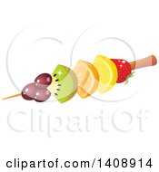 Clipart Of A Fruit Kebab With Grapes Kiwi Orange Lemon And Strawberry Royalty Free Vector Illustration