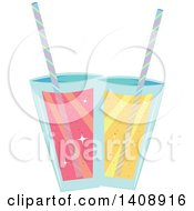 Clipart Of Pink And Yellow Cocktails Royalty Free Vector Illustration