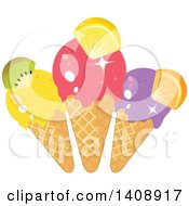 Clipart Of A Trio Of Waffle Ice Cream Cones Garnished With Fruit Royalty Free Vector Illustration