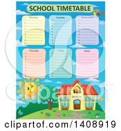 Clipart Of A School Time Table Schedule Design Over A Happy Sun And Building Royalty Free Vector Illustration by visekart