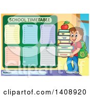 Clipart Of A School Time Table Schedule Design And Boy Royalty Free Vector Illustration by visekart