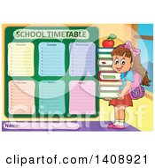 Clipart Of A School Time Table Schedule Design And Girl Royalty Free Vector Illustration by visekart