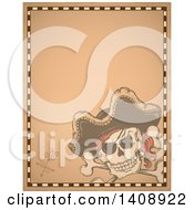 Clipart Of A Jolly Roger Pirate Skull And Cross Bones With A Hat On Parchment Royalty Free Vector Illustration