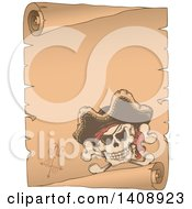 Clipart Of A Jolly Roger Pirate Skull And Cross Bones With A Hat On A Parchment Scroll Royalty Free Vector Illustration