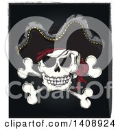 Clipart Of A Jolly Roger Pirate Skull And Cross Bones With A Hat On Black Royalty Free Vector Illustration by visekart