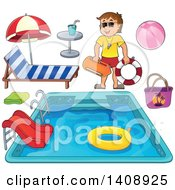 Cartoon Caucasian Male Lifeguard Pool And Accessories
