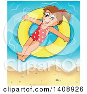 Clipart Of A Happy Brunette Caucasian Girl Floating On An Inner Tube On A Beach Royalty Free Vector Illustration