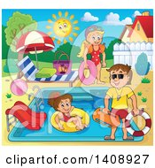 Cartoon Caucasian Male Lifeguard Supervising Children At A Swimming Pool