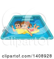 Clipart Of A Caucasian Boy And Girl Playing On A Floating Mattress In A Swimming Pool Royalty Free Vector Illustration by visekart