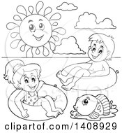Clipart Of A Black And White Lineart Sun Over A Fish And Children Foating On Inner Tubes Royalty Free Vector Illustration