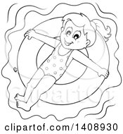 Clipart Of A Black And White Lineart Happy Girl Floating On An Inner Tube Royalty Free Vector Illustration
