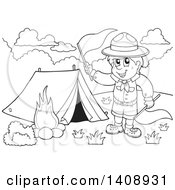Clipart Of A Black And White Lineart Camping Scout Boy Waving Red Flags Royalty Free Vector Illustration by visekart
