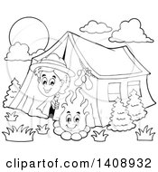 Clipart Of A Black And White Lineart Happy Scout Peeking Out Of His Tent By A Camp Fire Royalty Free Vector Illustration
