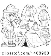 Clipart Of A Black And White Lineart Scout Girl With Camping Gear Royalty Free Vector Illustration