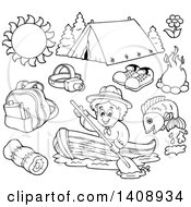 Clipart Of A Black And White Lineart Scout And Camping Gear Royalty Free Vector Illustration