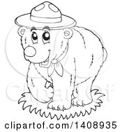 Clipart Of A Black And White Lineart Scout Bear Royalty Free Vector Illustration