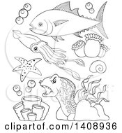 Clipart Of Black And White Lineart Sea Creatures Royalty Free Vector Illustration