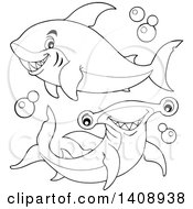 Clipart Of A Black And White Lineart Royalty Free Vector Illustration