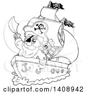 Clipart Of A Black And White Lineart Pirate Captain On A Ship Royalty Free Vector Illustration