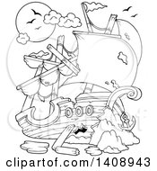 Clipart Of A Black And White Lineart Wrecked Pirate Ship Royalty Free Vector Illustration