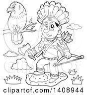 Clipart Of A Black And White Lineart Native American Man Holding A Hatchet And Bow By A Perched Eagle Royalty Free Vector Illustration