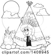 Clipart Of A Black And White Lineart Happy Native American Boy Peeking Out Of A Tepee Royalty Free Vector Illustration by visekart