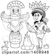 Clipart Of A Black And White Lineart Native American Woman Holding A Bow And Arrow By A Totem Royalty Free Vector Illustration by visekart