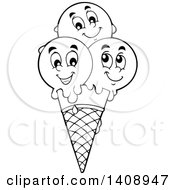 Black And White Lineart Waffle Ice Cream Cone With Scoop Characters