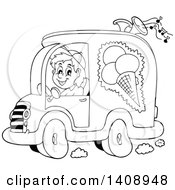 Black And White Lineart Ice Cream Truck Driver