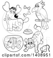 Black And White Lineart Pets
