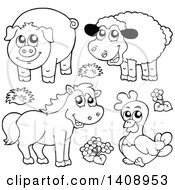 Clipart Of Black And White Lineart Farm Animals Royalty Free Vector Illustration by visekart