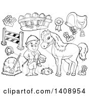 Clipart Of A Black And White Lineart Equestrian With A Horse And Items Royalty Free Vector Illustration by visekart
