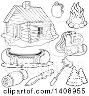 Clipart Of A Black And White Lineart Cabin And Recreation Items Royalty Free Vector Illustration