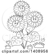 Clipart Of A Black And White Lineart Group Of Happy Sunflowers Royalty Free Vector Illustration by visekart
