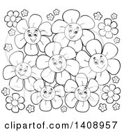 Clipart Of A Black And White Lineart Group Of Flowers Royalty Free Vector Illustration by visekart